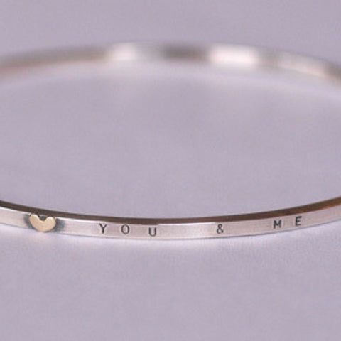 Helen Burgess 'You & Me' Bangle with Gold Heart