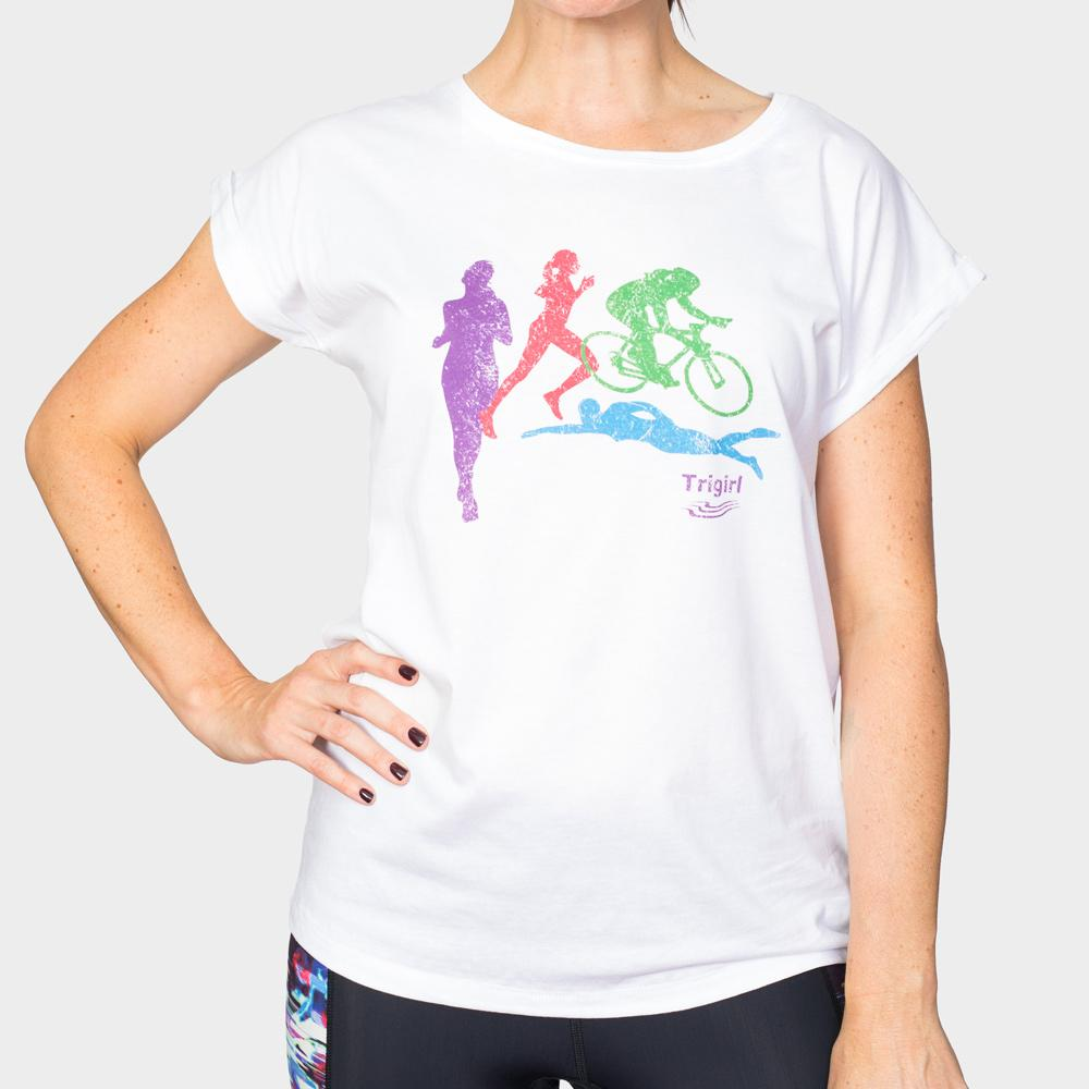 Damen Triathlon T-Shirt in Weiss mit buntem Motif