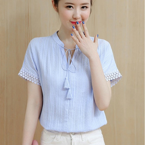 100% Cotton Shirt Short Sleeve 2019 Women Blouses Tops Solid Casual Clothes Lace Hollow Out Sky Blue Shirts Blusas