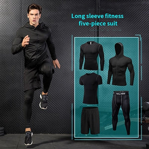5Piece Running Suit Fitness Tights Polyester Breathable Running Set Men's Jogger Sports Clothing Set Sports Coat Basketball Set