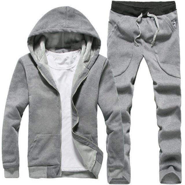 Men's 2019 Hoodie Running Sport Suit Keep Warm Sportswear Running Set Sport Clothing Fleece Windproof Jogging Sports Suit