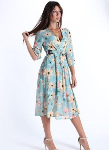 Robe Encolure En V Avec Sangle Imprimé Floral
