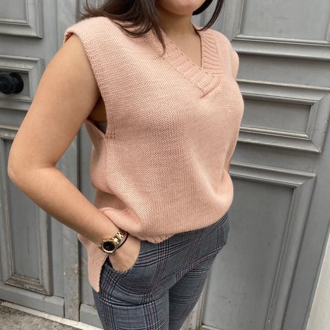 Pull manche courte rose
