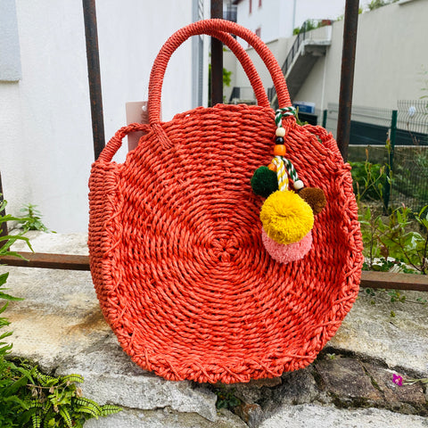 Sac rond paille rouille