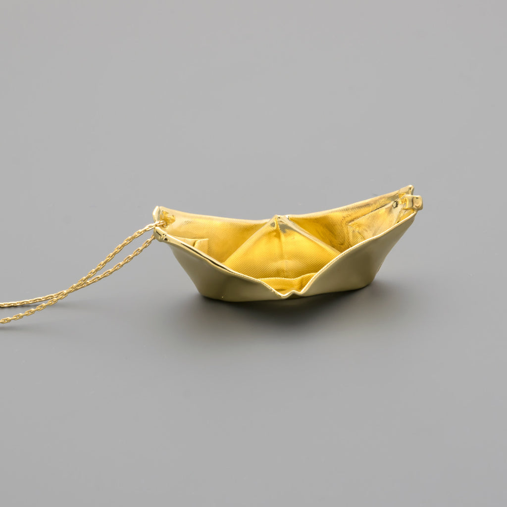 Origami Fabric folded boat on a long chain A-001