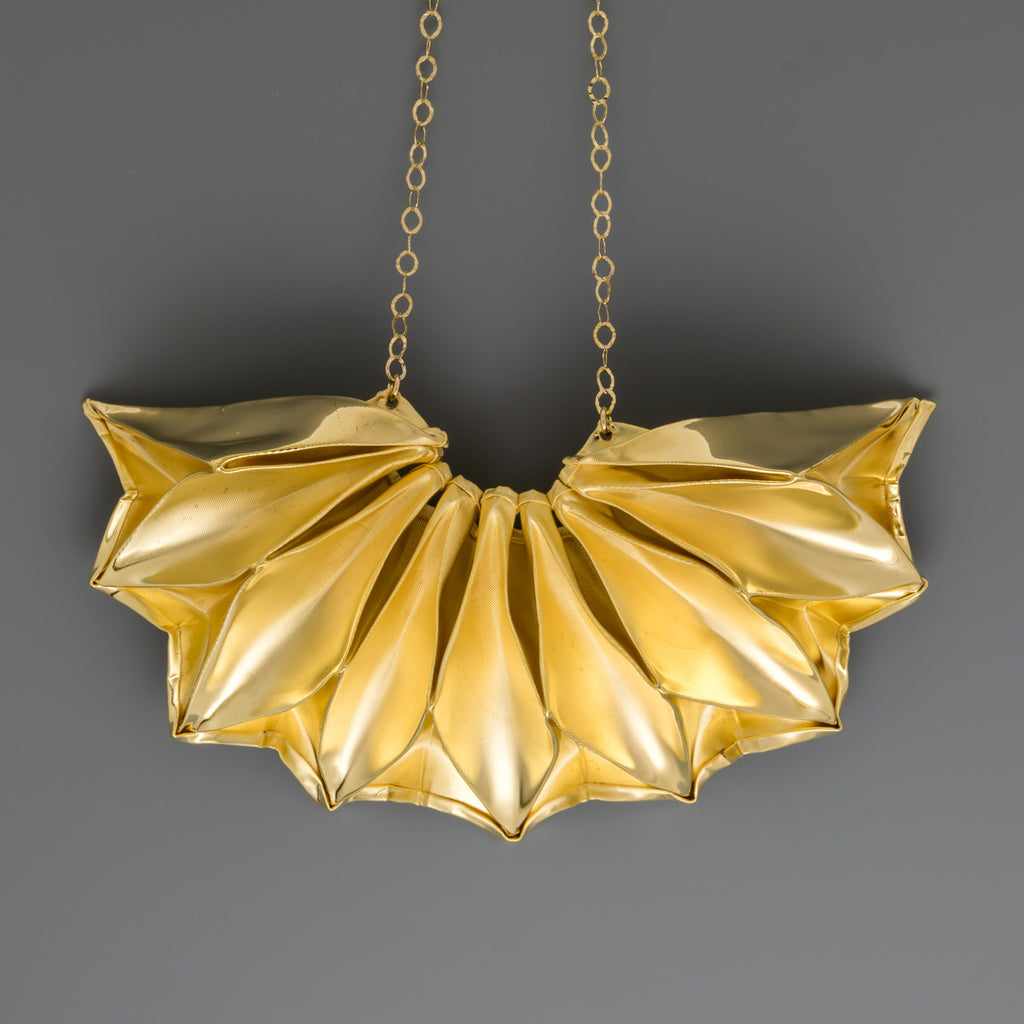Gold coated fabric short necklace A-022