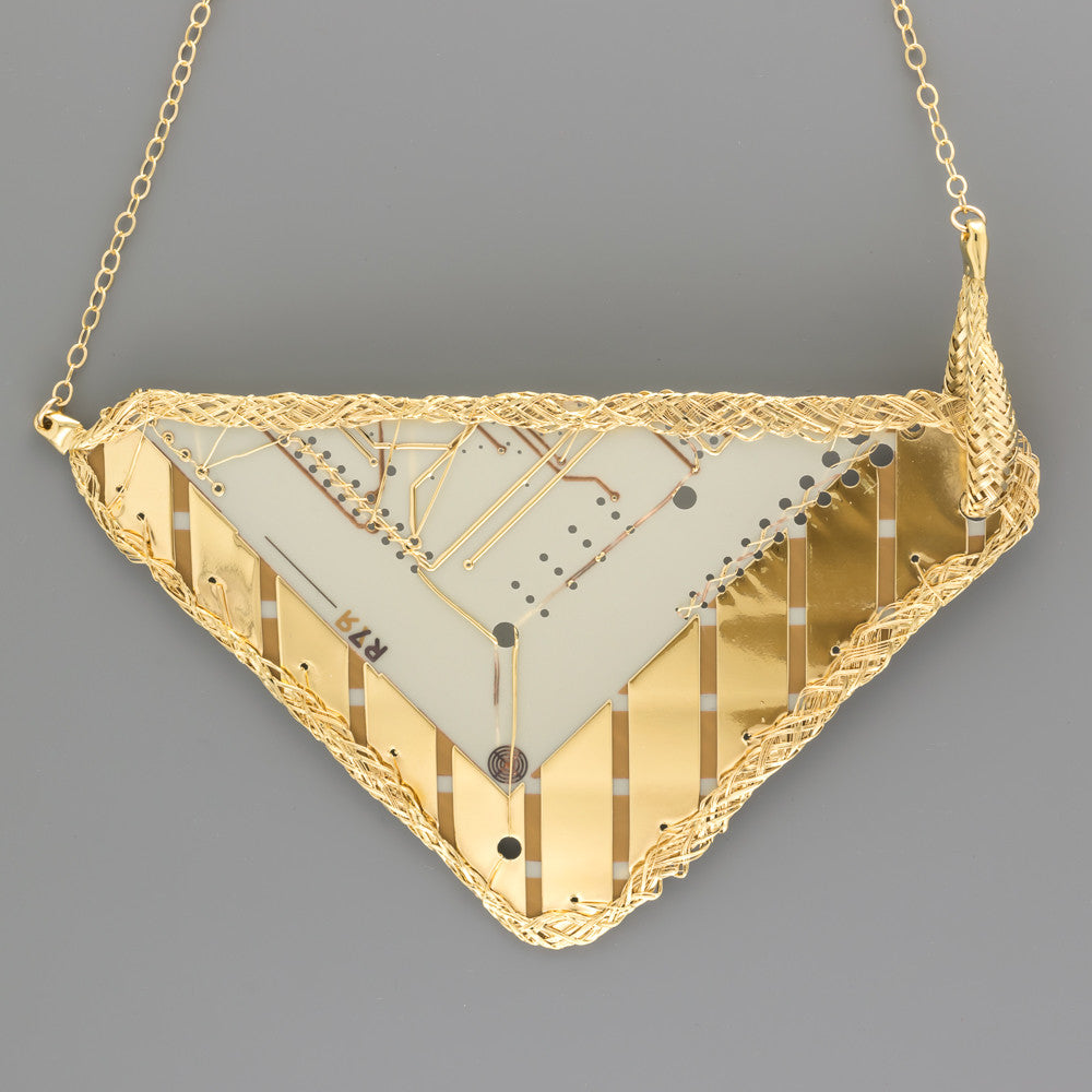 Gold coated vintage circuit board short necklace A-027