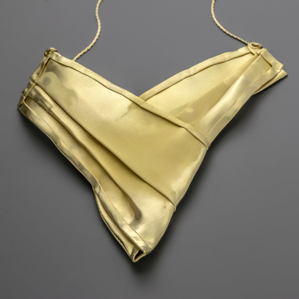Gold coated fabric short necklace A-031
