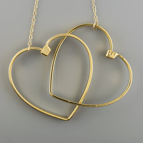 2 Hearts long necklace A-048