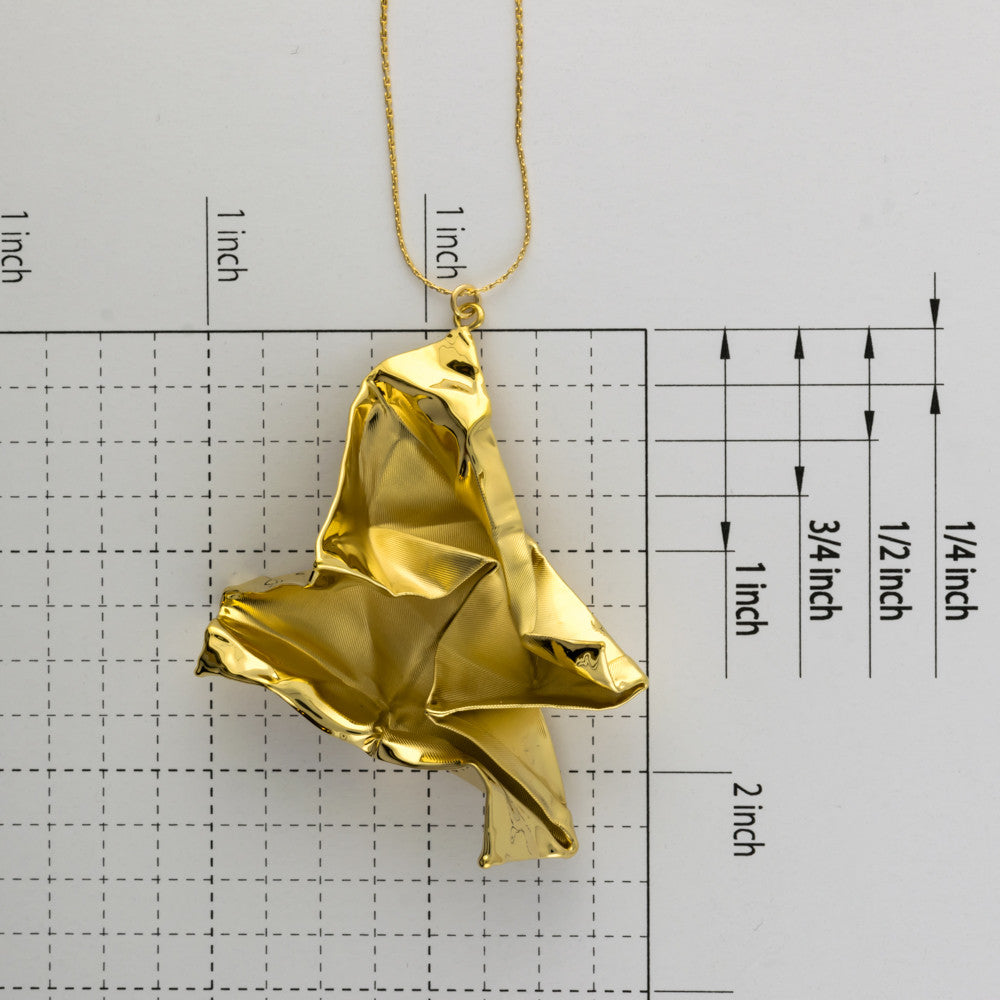Origami fabric unfolded boat on a long chain A-065