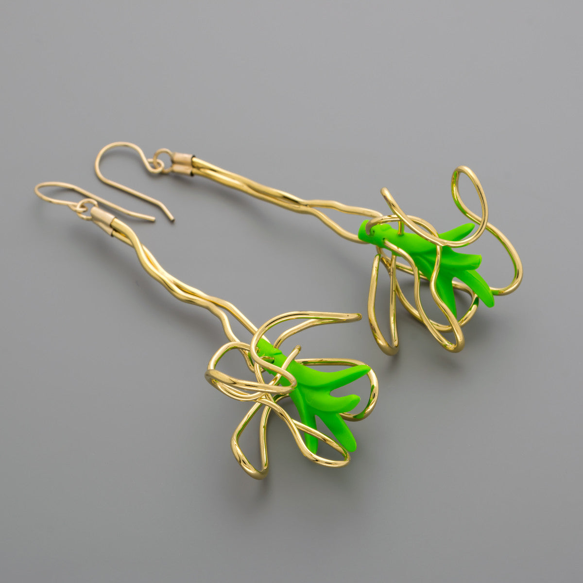 Toy leaves in gold wire earrings A-081 – Dave + Esty Jewelry lab