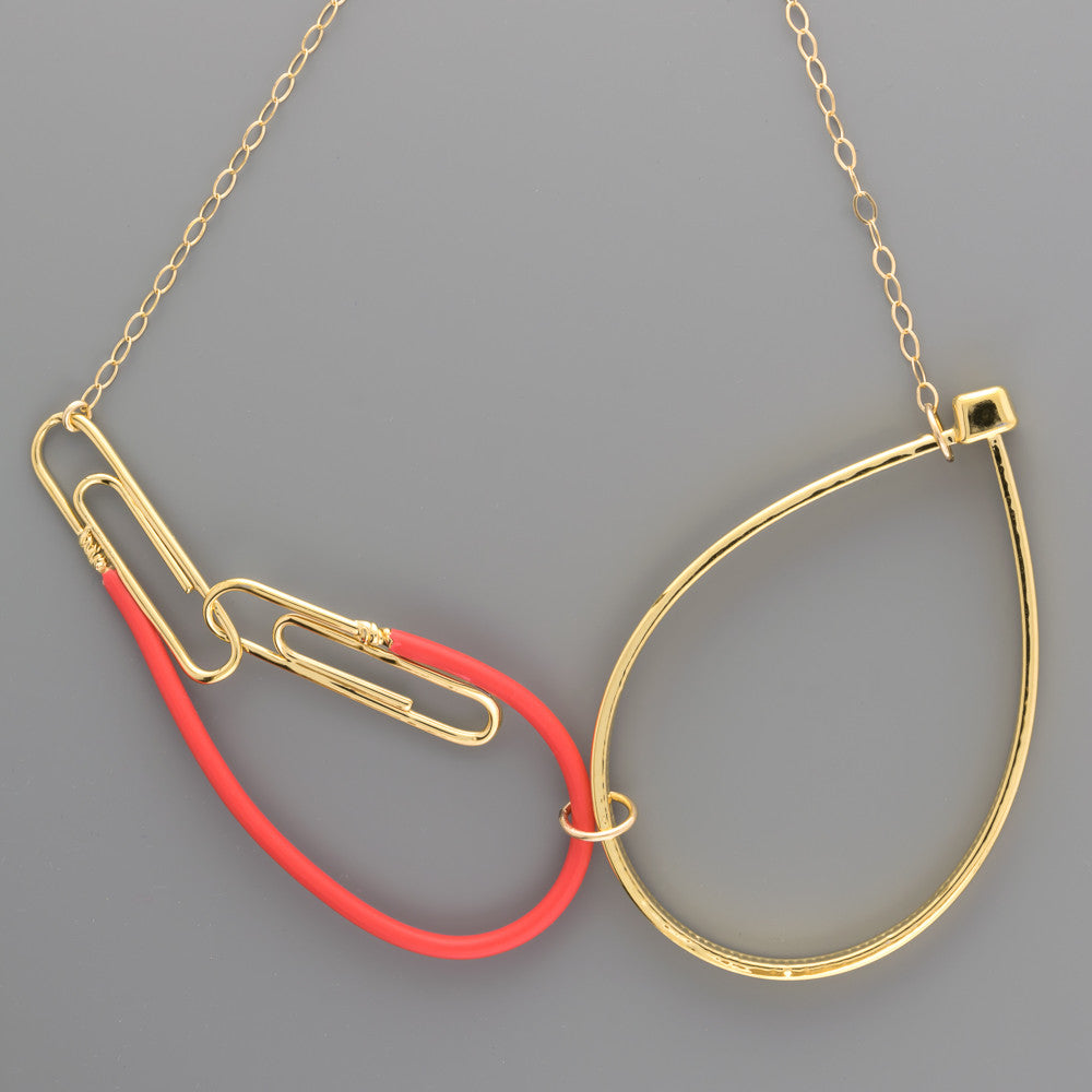 Paper clip, Electric wire and cable tie gold short necklace A-084 ...