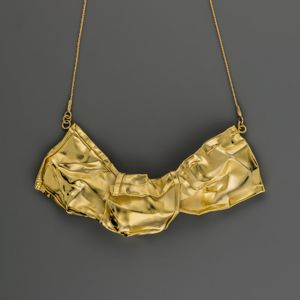 knotted gold fabric short necklace A-085