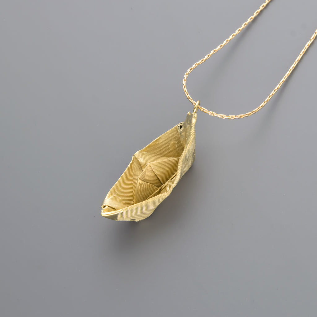 Fabric Boat Long Necklace A-100