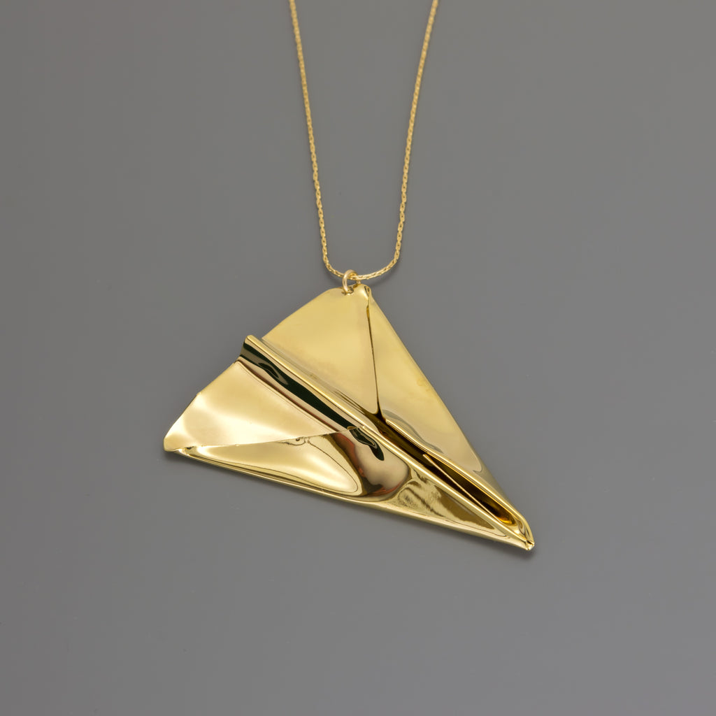 Hand folded origami plane long necklace A-192