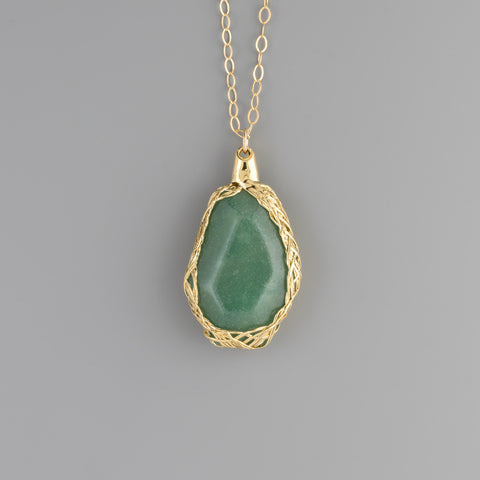 Aventurine stone in gold braided rope Long Necklace A-244