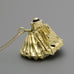 12v Light bulb with gold coated fabric lampshade on a long chain A-282