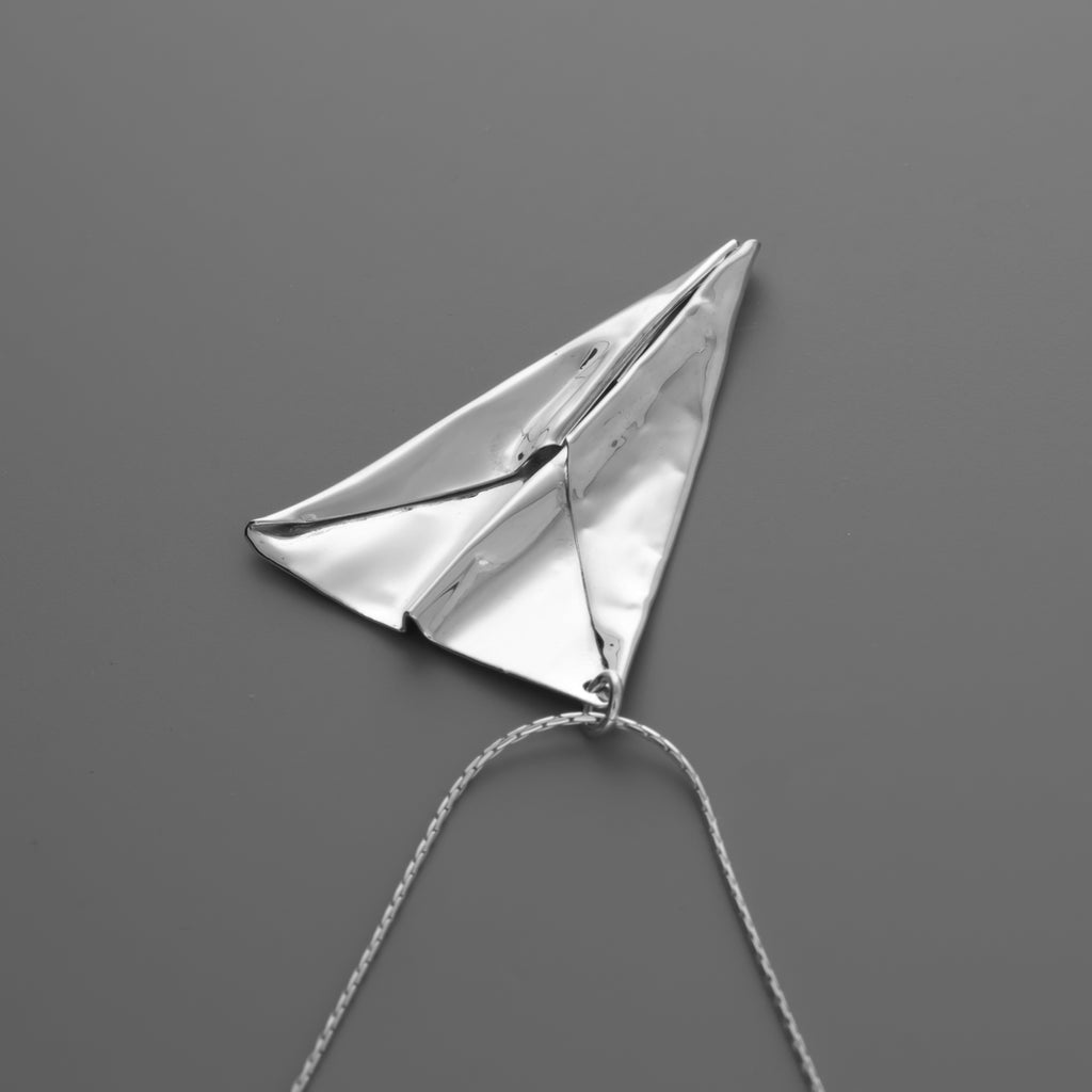 Hand folded origami plane long necklace B-047
