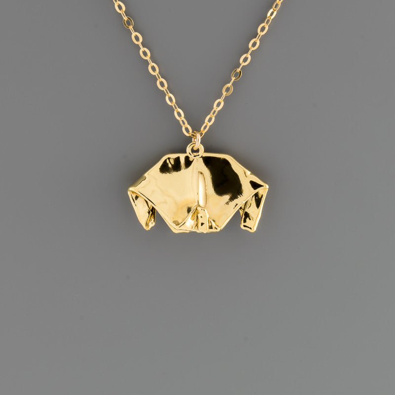 Fabric Origami Dog Necklace
