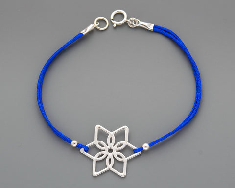 2 Flowers Star of David Cord Bracelet