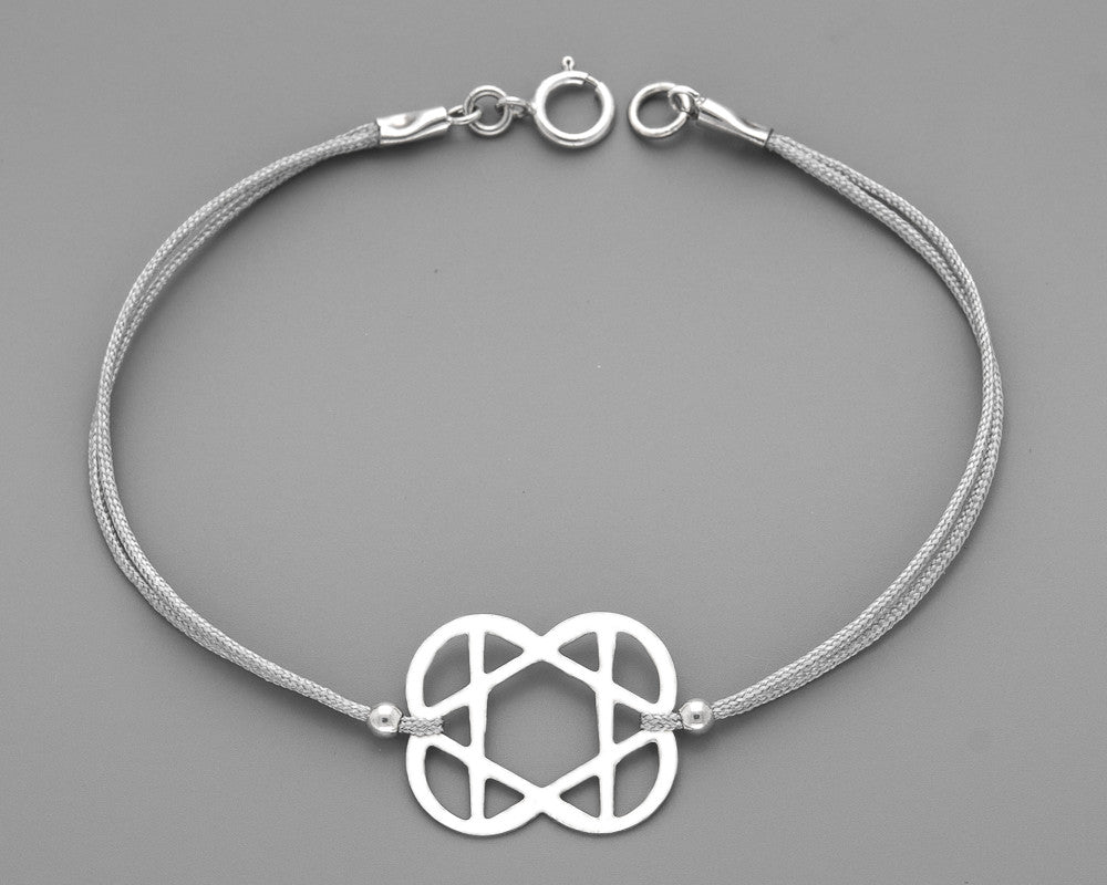 hearts Star of David Cord Bracelet