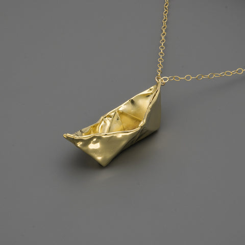 Fabric Boat Long Necklace A-169