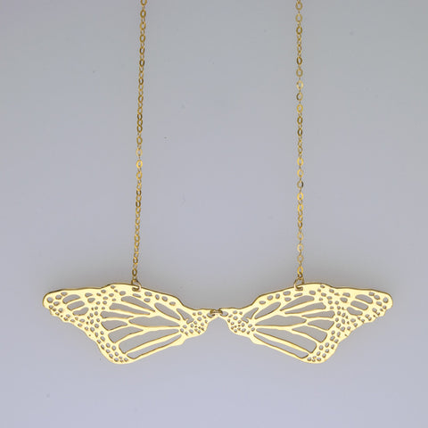 2 Mirrored butterfly wing short necklace