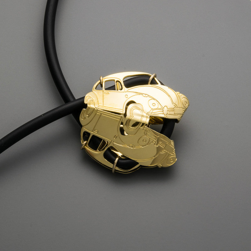 Beetle Car on Silicone  Long Necklace