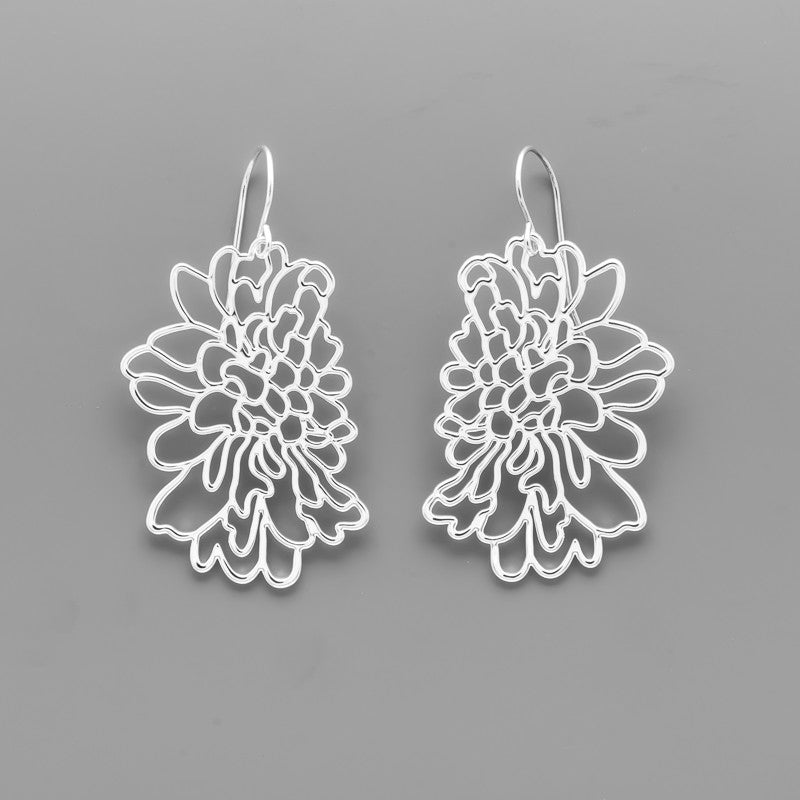 Open Contour Flower Earrings B-051