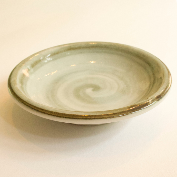CERAMIC SOAP DISH - TAUPE/BLUE