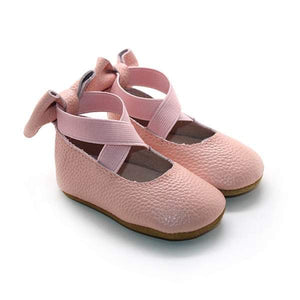 Bow Back Ballet Flats - Hard Sole - Rose