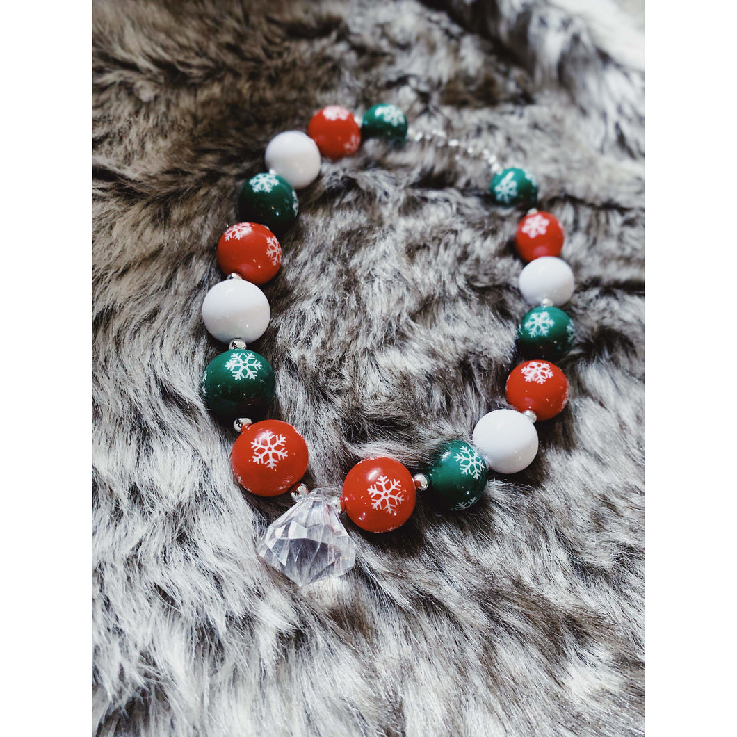 Holiday Snowflakes Bubblegum Necklace