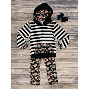 Stripe Floral Hooded Lounge Set
