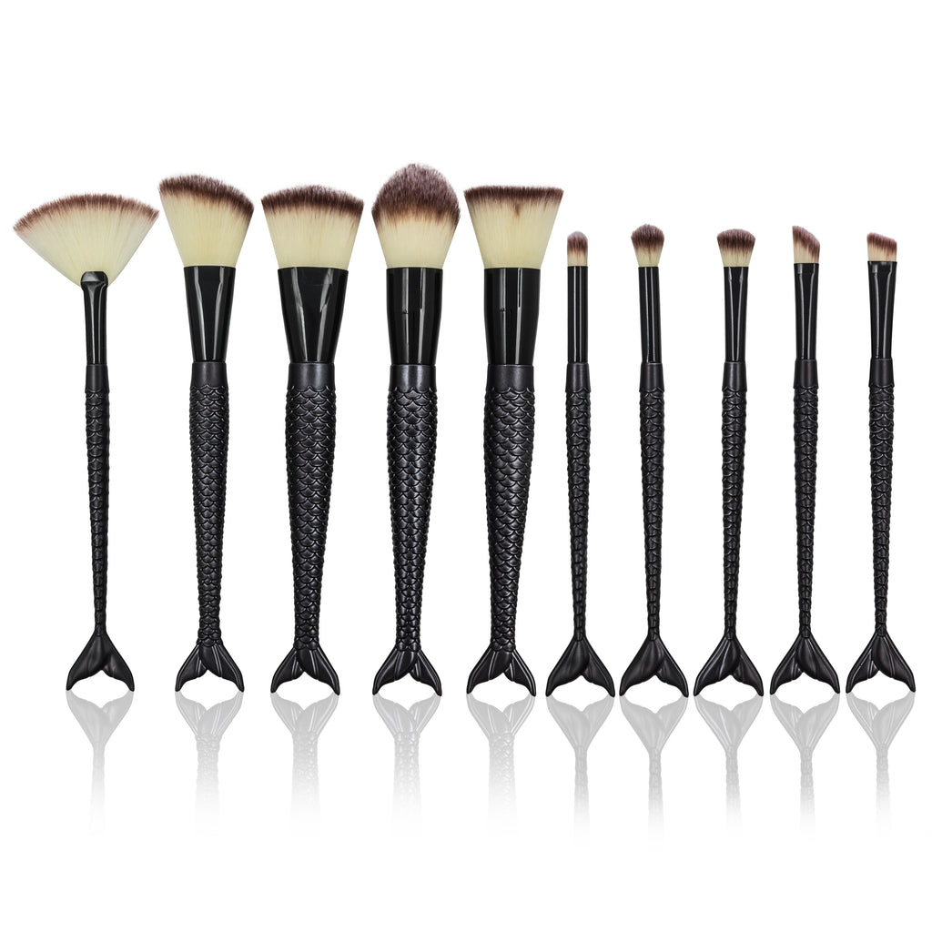 Mermaid makeup brush set- Black matte