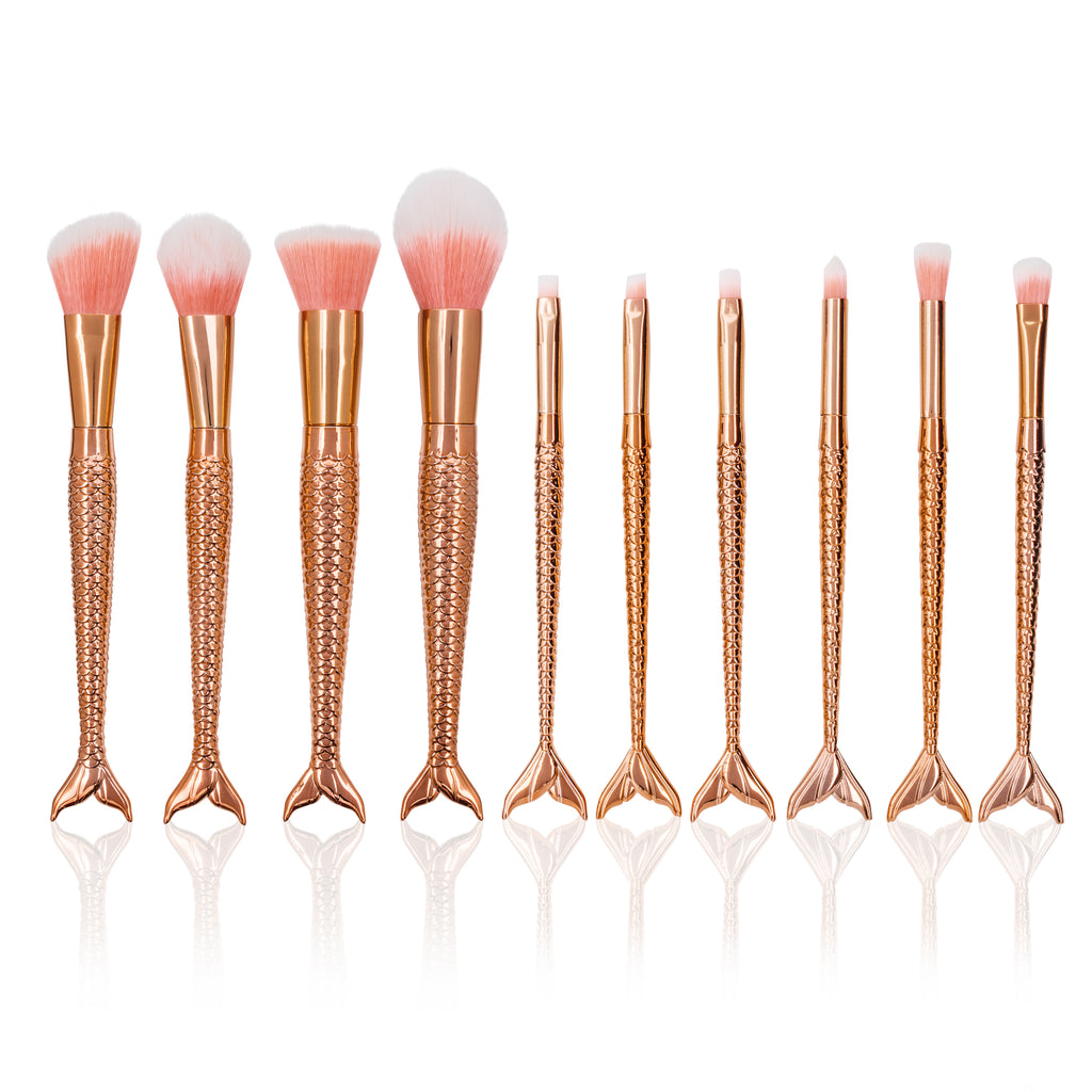 Mermaid makeup brush set- Rose gold