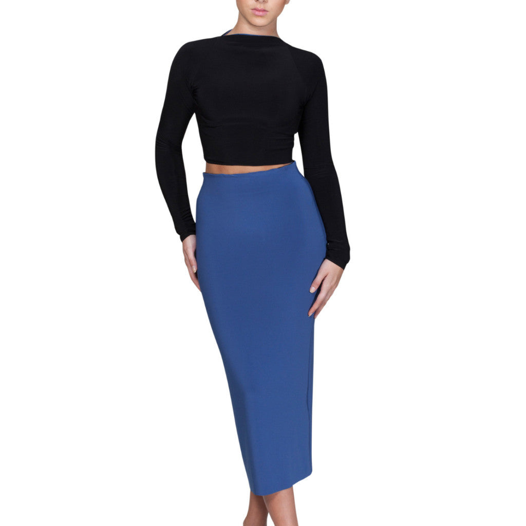 Carroll Crop top & skirt - Blue/Black reversible
