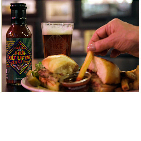 Pike Kilt Lifter BBQ Sauce, served with a BBQ Burger at the Pike Pub!