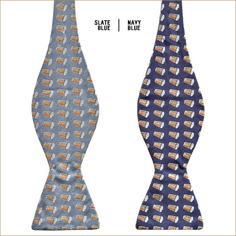 Pike Beer Bow Ties, side by side: Slate Blue and Navy Blue.