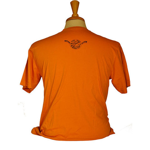Men's Short Sleeve Seasonal Tee: Harlot's Harvest — BACK (In Carrot)