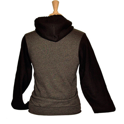 Unisex Two-Tone Monk's Uncle Zip Hoodie — BACK (in Charcoal Heather)