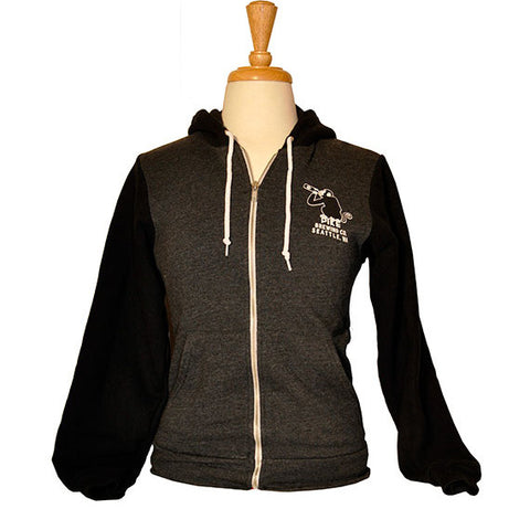 Unisex Two-Tone Monk's Uncle Zip Hoodie — FRONT (in Charcoal Heather)