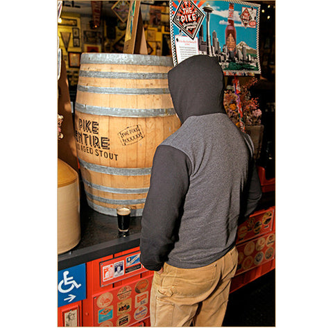 Unisex Two-Tone Monk's Uncle Zip Hoodie — SIDE (Worn by Pike Head Brewer, Dean Mochizuki, in Charcoal Heather)!
