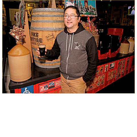 Unisex Two-Tone Monk's Uncle Zip Hoodie — FRONT (Worn by Pike Head Brewer, Dean Mochizuki, in Charcoal Heather)!