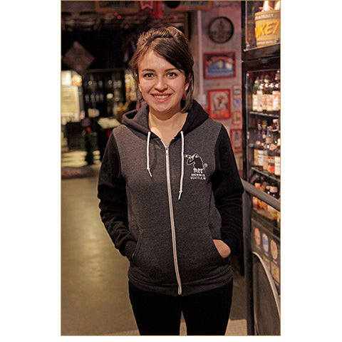 Unisex Two-Tone Monk's Uncle Zip Hoodie — FRONT (shown in Charcoal Heather, worn by Renata)!