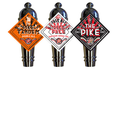 Pike Tandem, Pale Ale, & The Pike Diamond Art Deco Cast Aluminum Pike Beers Tap Handles