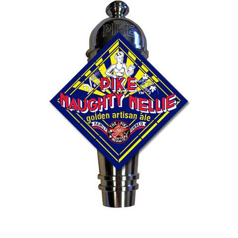 Naughty Nellie Art Deco Cast Aluminum Pike Beers Tap Handle