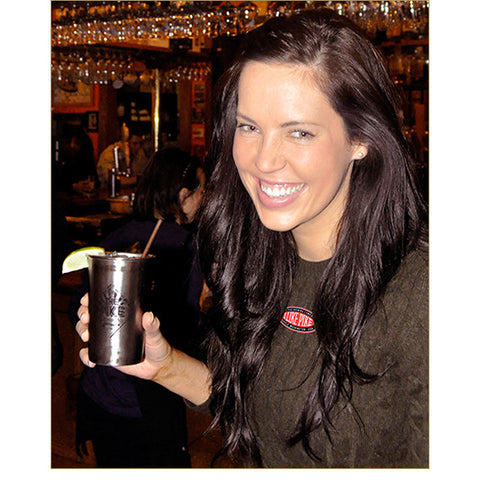 The Pike Montlake Mule Beaker — FRONT (worn by a guest at the Pike Pub visiting from Brussels)!