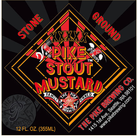 Label: XXXXX Pike Stout Mustard, Stone Ground.