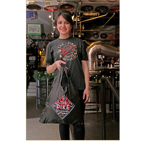 "UNISEX Short Sleeve T-Shirt: Star P — FRONT (in Charcoal, worn by Renata)!<br>View the unisex charcoal t-shirt here: http://shop-pike-brewing.myshopify.com/products/men-s-star-p-t-shirt<br>View the Pike ""Chico"" Bag here: http://shop-pike-brewing.myshopify.com/products/the-pike-chico-bag"