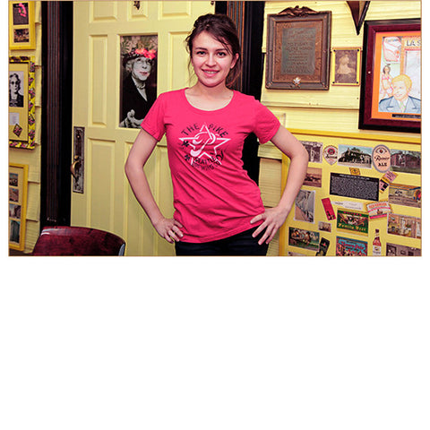 Women's Short Sleeve T-Shirt: Star P — FRONT (In Watermelon, worn by Renata)!